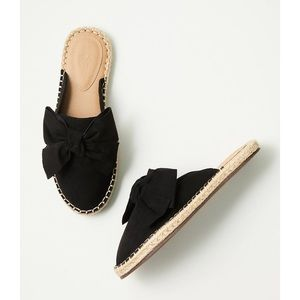 LOFT Black Bow Espadrille Slide Sandals NWOT 7